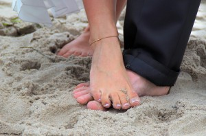 Strand mit Füßen